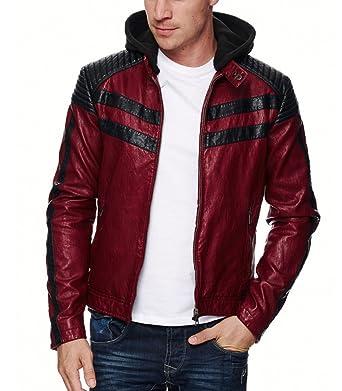 63ffd33590e08 Freeside - Veste Cuir Coupe ajustée Veste Homme 545 Rouge - XXL - Rouge