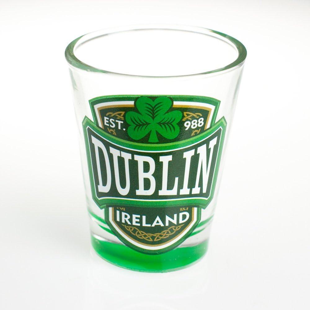 Ireland And Green Shamrock Design Loose Shot Glass With Dublin