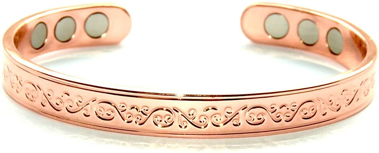 Stunning Copper Magnetic Bracelet for Arthritis 6 Magnets Beautiful Classic Design; Commonly Worn for Pain Relief and Magnetic Healing; Can Also be Worn as an Accessory SCB667 Origin
