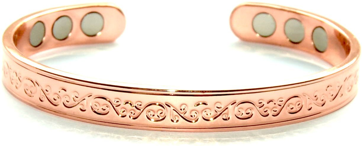 Copper Bracelet For Arthritis; Magnetic Therapy (6 Embedded into internal face); Beautiful Classic Design; Commonly worn for Pain Relief and Magnetic Healing; Can also be worn as an Accessory SCB667