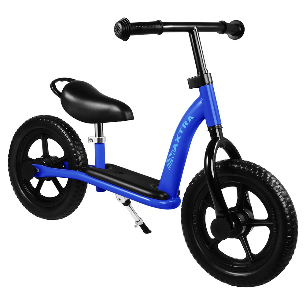 Maxtra 12in Balance Bike Lightweight Sports No Pedal Walking Bicycle with Adjustable Handlebar and Seat for Ages 2 to 5 Years Old (Footrest Dark Blue)