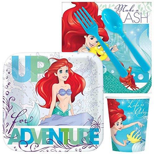 [Costume Supercenter BBKIT284 Little Mermaid Standard Birthday Party Tableware Kit] (The Little Mermaid Costume)
