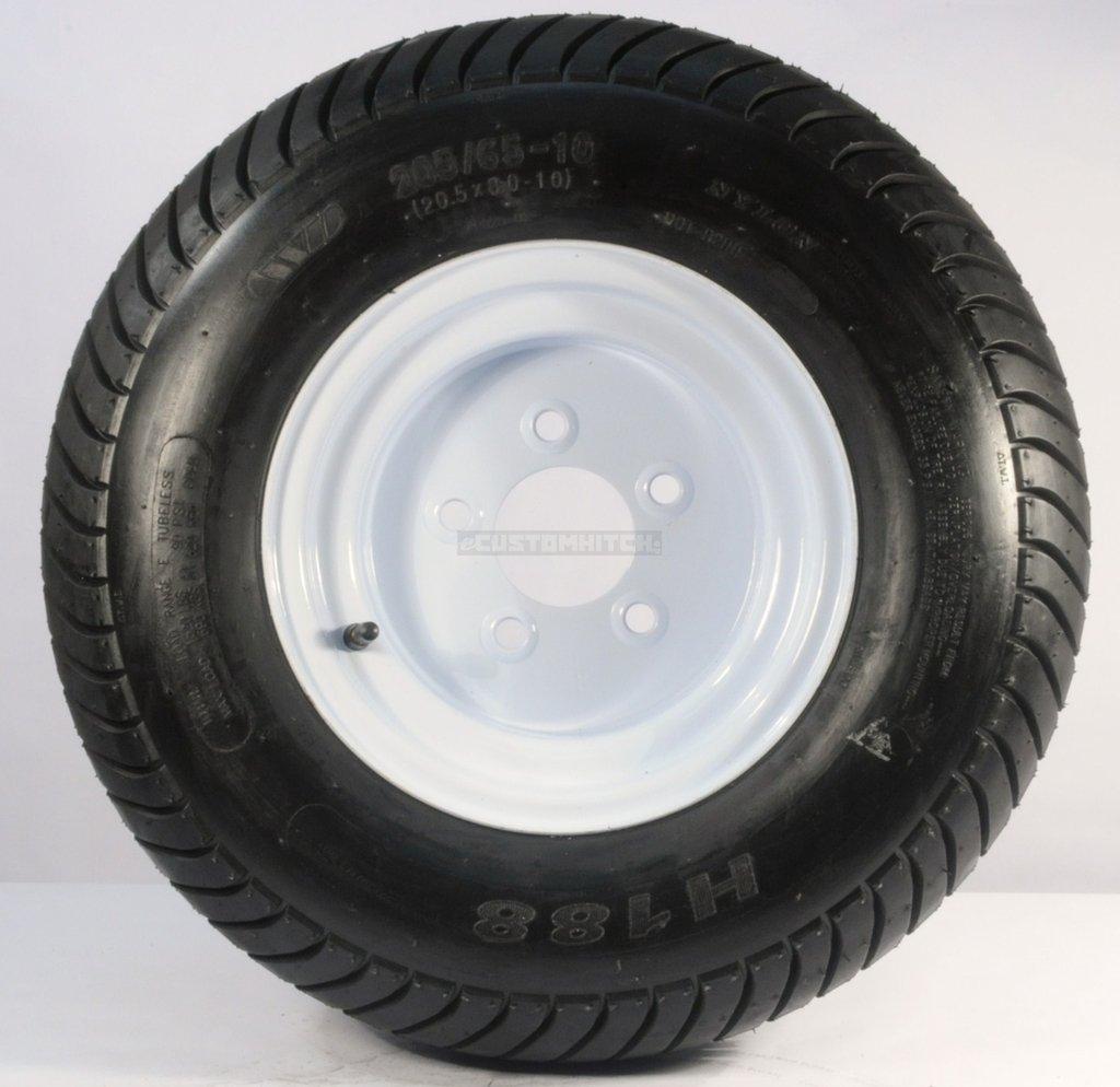 Kenda Loadstar 205/65-10 LRE 10 PR Bias Trailer Tire on 10 5 Lug White Steel Trailer Wheel