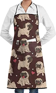 QIAOJIE Pug Red Bib Apron for Women Men - Waterproof Chef Apron with Front Pocket for Kitchen Cooking Craft Baking