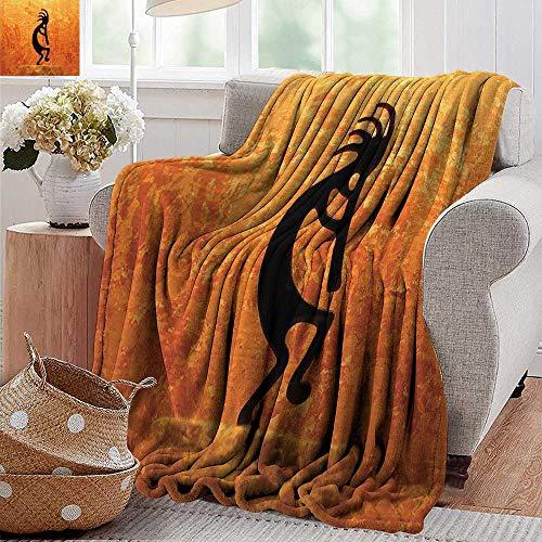 PearlRolan Blankets Fleece Blanket Throw Kokopelli Southwestern Style Native American Indian Ancient Belief Picture Art Orange Black 300GSM Super Soft and Warm Durable Throw Blanket 50