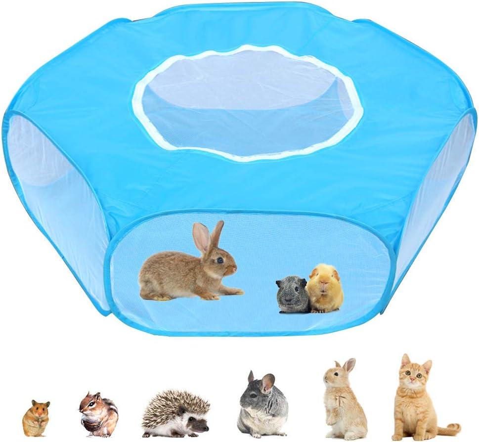 Parque para animales pequeños con cubierta, valla para ejercicio de hámster, accesorios para conejillos de indias, carpa impermeable para valla de jardín para conejo, gatito, chinchilla y erizo