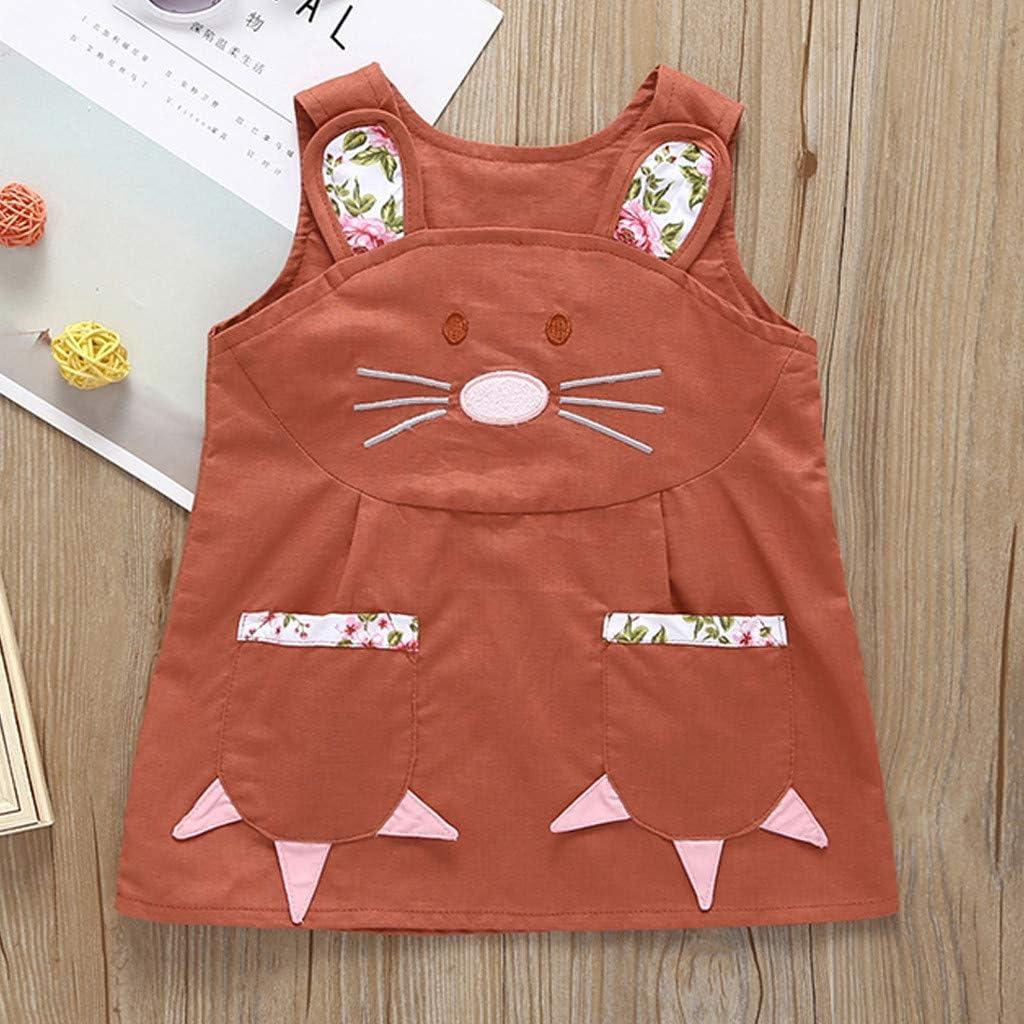 Yanhoo Kleinkind Baby Ostern Floral Bunny Rabbit Princess Outfit /äRmelloses Baumwoll Leinen Cartoon H/äSchenkleid Babybekleidung Kinder Unisex Jungen M/äDchen Kinderkleidung