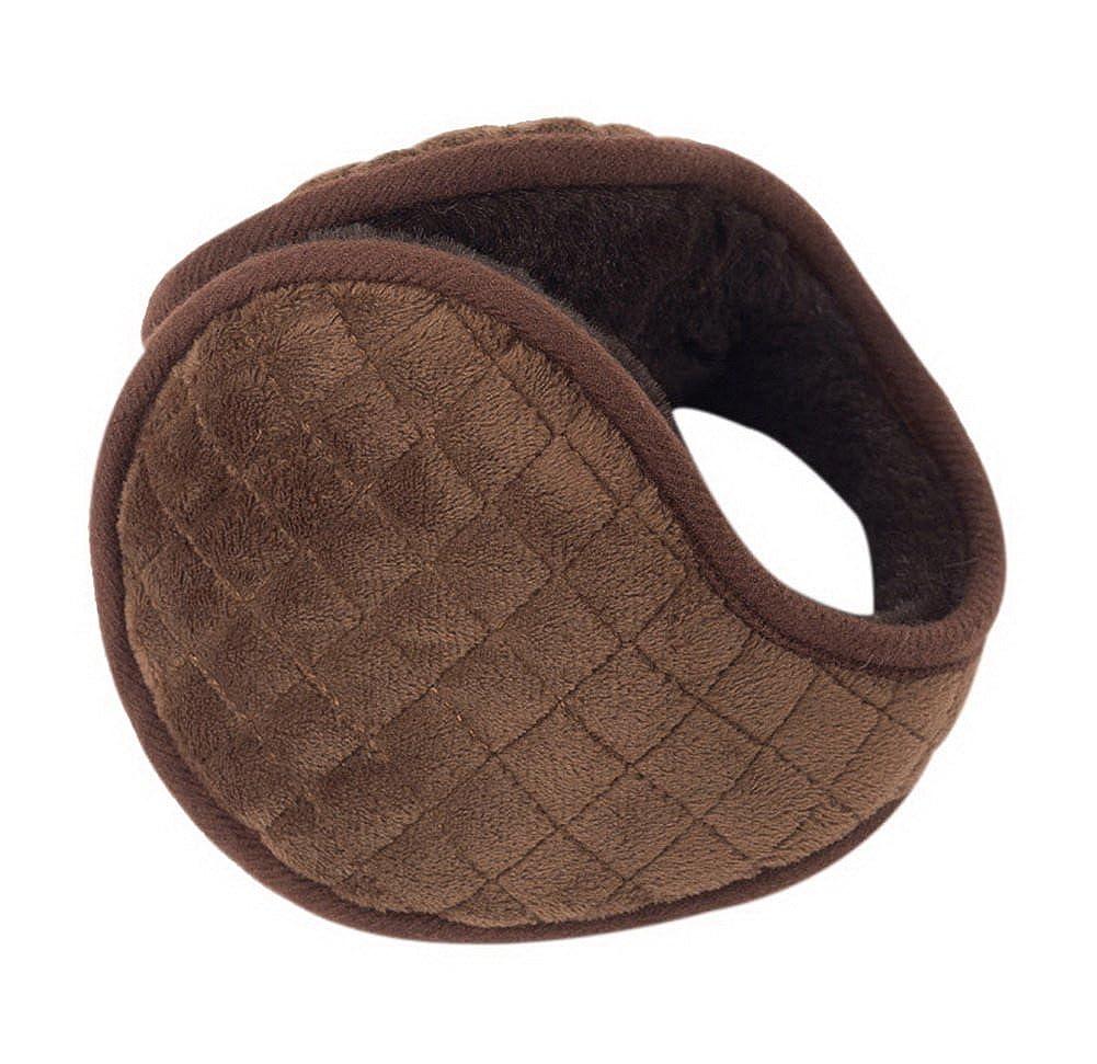 Mens Winter Warmer Ear Cover Soft Plush Earmuffs Portable Warmer Brown Checkered
