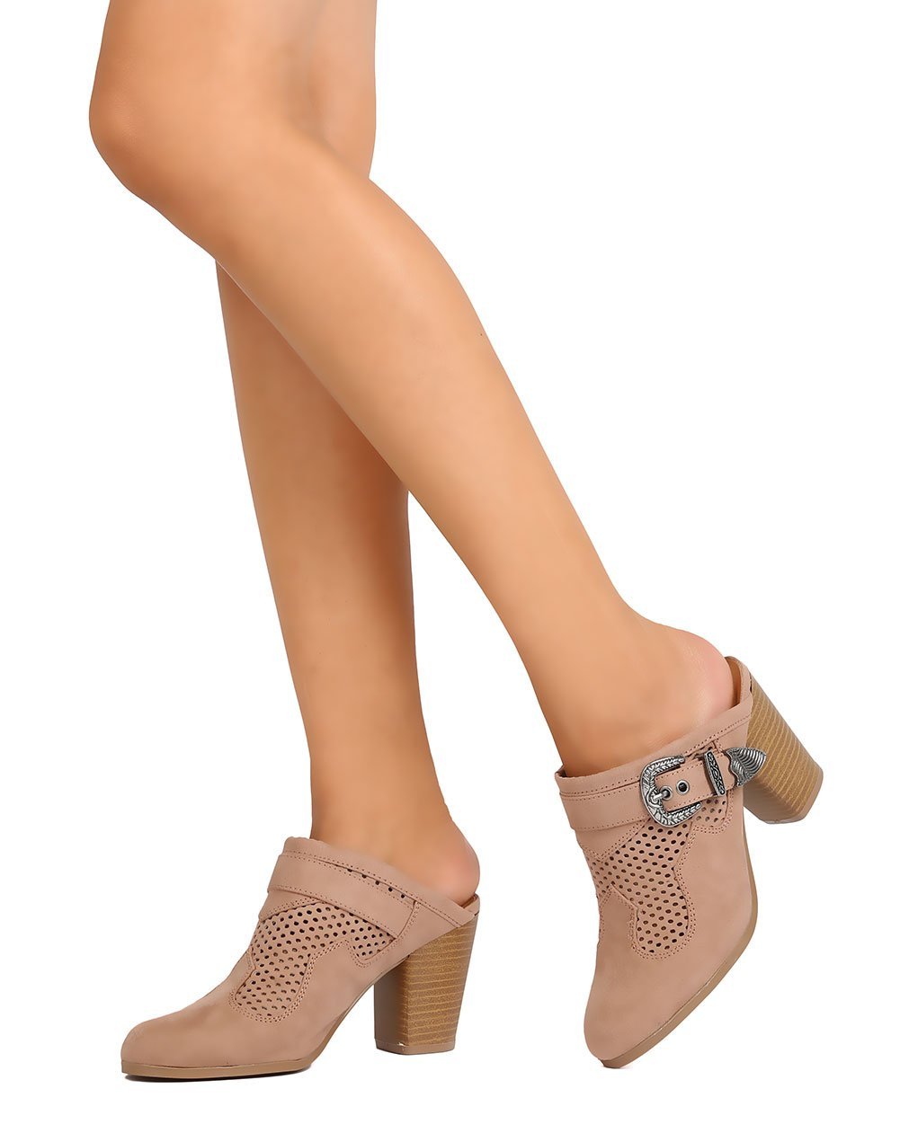 Qupid Women Faux Suede Perforated Buckled Chunky Heel Mule FD91 - Taupe (Size: 7.5) by Qupid (Image #6)