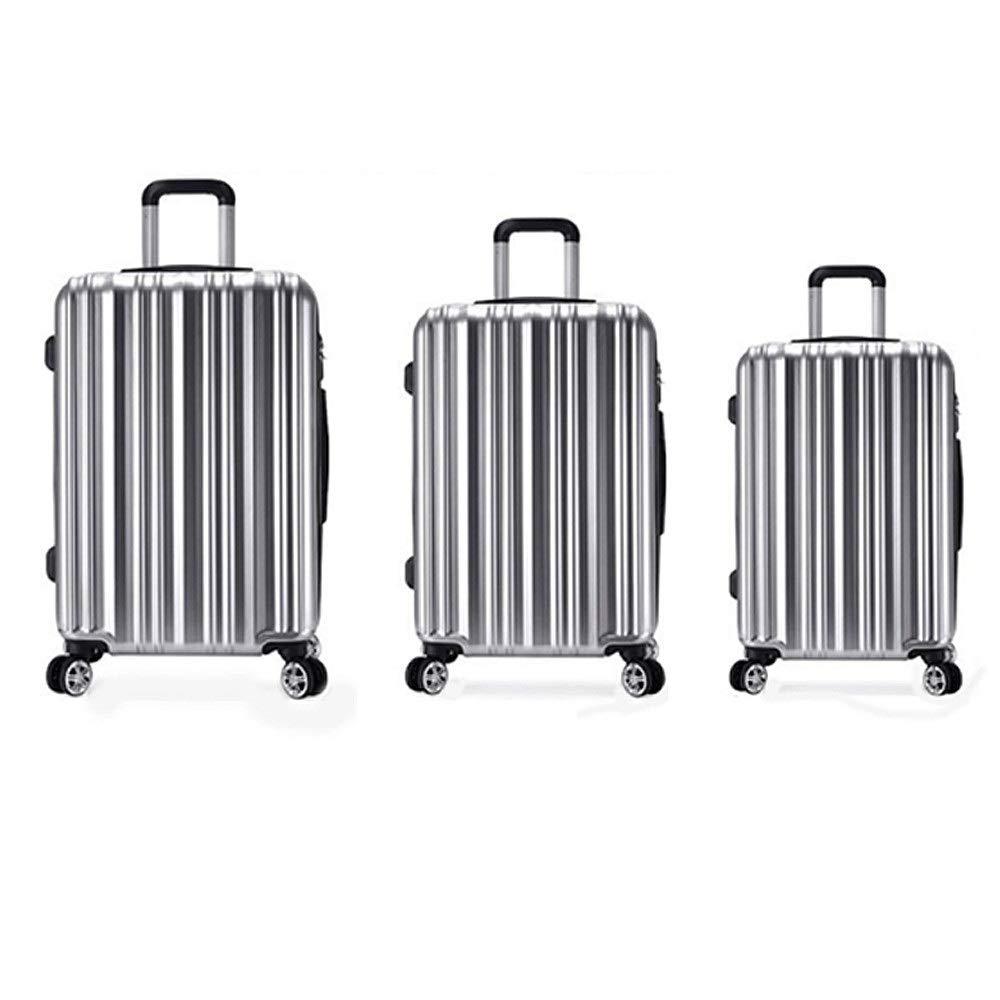 スーツケース 20インチ24インチ28インチ荷物3個セットスーツケーススピナーハードシェル軽量ネストセットキャリーオンアップライトスーツケース用男性女性旅行飛行機便チェックイン 大容量旅行スーツケース (色 : 銀, サイズ : 20in+24in+28in) B07RR8KHSX 銀 20in+24in+28in