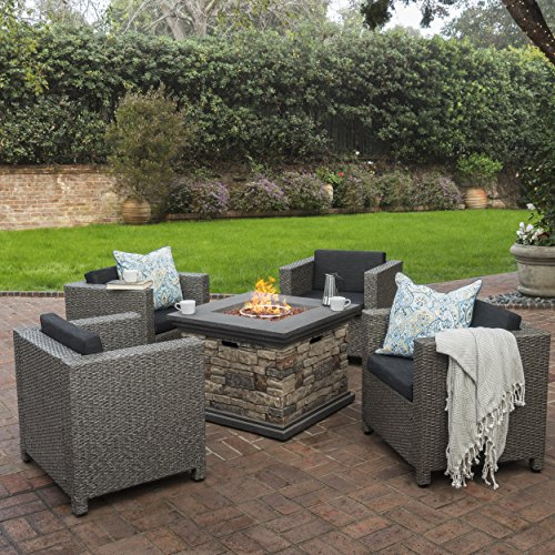 Christopher Knight Home 300390 Livingston Outdoor 4 Piece Club Chair Set w/Water Resistant Cushions & Stone Fire