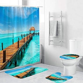 Lake Wolf Waterproof Bathroom Shower Curtain Toilet Cover Mat Non-Slip Rug Set