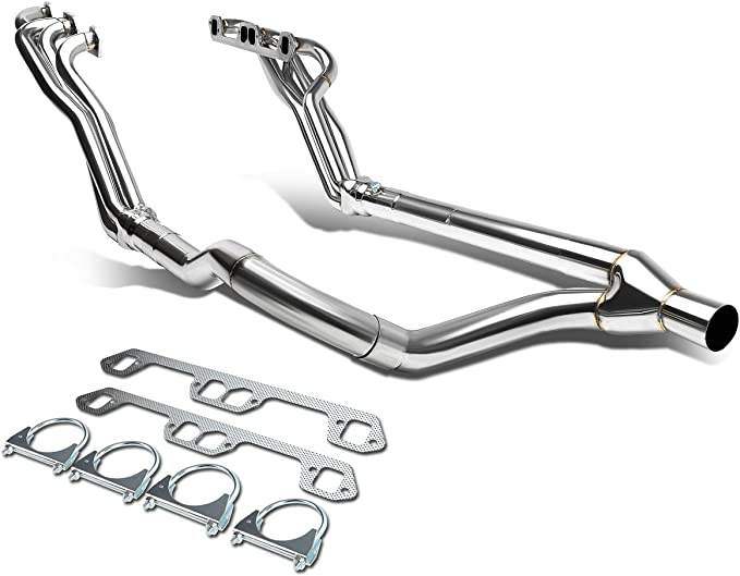 SS Long Tube Exhaust Header Manifold+Y-Pipe for 96-02 Dodge Ram 5.2//5.3//5.9 V8