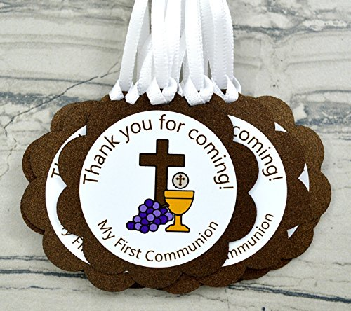 First Holy Communion Party Favor Tags - Set of 12 by Decorate Your Big Day