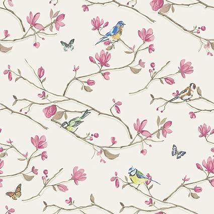 Maylea Neutral Birds Butterflies Flowers Floral Wallpaper Trees Nature Garden K2