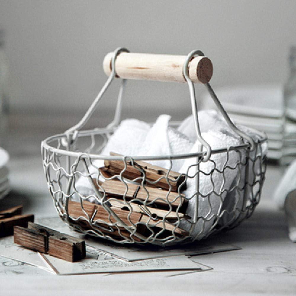 Canasta de almacenamiento de hierro forjado antiguo Vintage, canasta de pan de frutas para cocina, canasta de almacenamiento, almacenamiento de cocina de escritorio para decoración del hogar-blanco