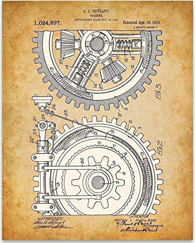 (Gears - 11x14 Unframed Patent Print - Great Industrial Home Decor Under $15)