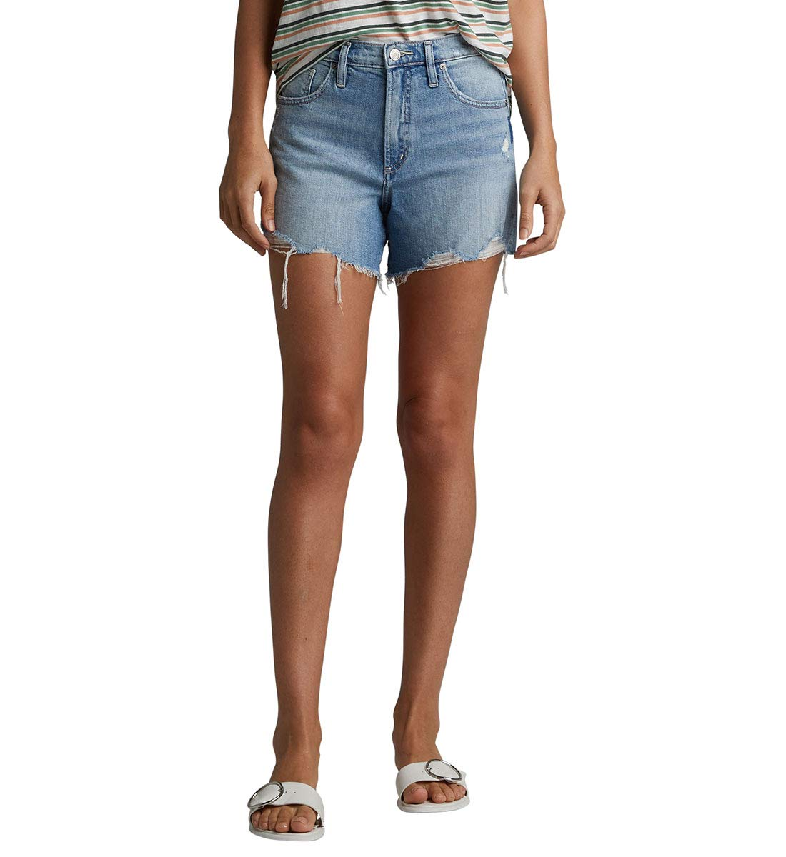 Silver Jeans Co. Women's Frisco Vintage High Rise Shorts, True Wash, 30W x 4L by Silver Jeans Co.