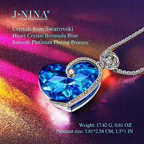 b07cc1dbaf459 J.NINA Women Neckalce for Mothers Day Heart Pendant Big Blue Rose Sapphire  Swarovski Crystals Jewelry Anniversary Birthday Gifts Present for Her ...