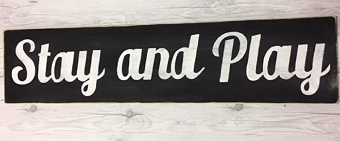 amazon com stay and play sign fixer upper signs play room decor