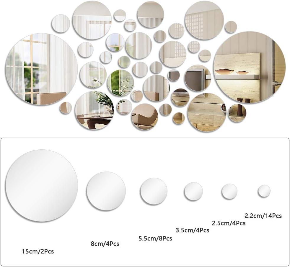 FOCCTS Fogli per Anelli a Specchio a Cerchio 32 Pezzi con Dimensioni Diverse Specchio a Parete Circolare Autoadesivo a Specchio per Decorazione Domestica