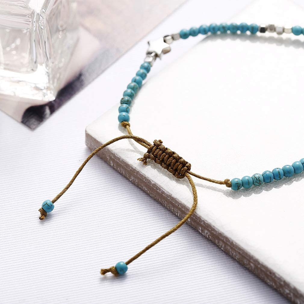 Weiy Beads Star Anklet Bohemian Beads Star Rope Chain Anklets Handmade Anklets Beach Accessories for Girls