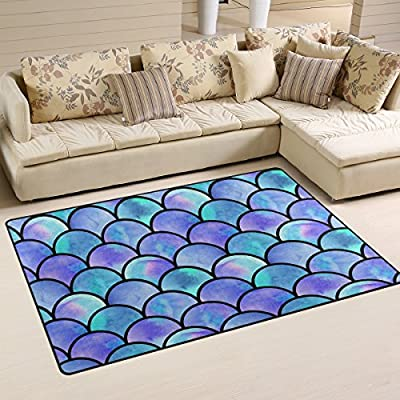 Naanle Watercolor Rainbow Mermaid Scale Non Slip Area Rug Living Dinning Room Bedroom Kitchen, 1.7 'x 2.6'(20 x 31 inches), Colorful Abstract Nursery Rug Floor Carpet Yoga Mat