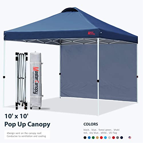 MASTERCANOPY Patio Pop Up Instant Shelter Beach Canopy Better Air Circulation Canopy with Wheeled Backpack Carry Bag 10x10 ft, Navy Blue