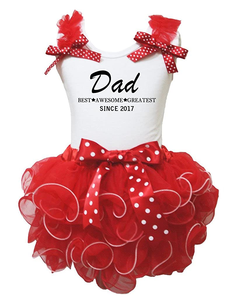 Petitebella Dad Best Awesome Greatest 2017 White Shirt Red Petal Skirt Nb-8y