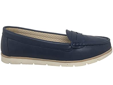 9804b886a7b Ladies Dr Keller Faux Leather Navy Slip On Flat Moccasin Casual Loafer  Pumps Shoes Size 4