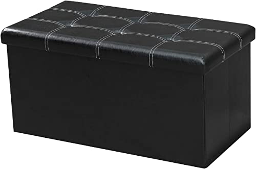 VACA KEY 30Inches Folding Storage Ottoman Footrest Stool Small Cube Coffee Table Chest Seating Storage Bench Faux Leather Leather Black