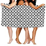 Haixia Oversized Bath Towels Twin Monochrome Abstract Curvy Ornament Graphic Stylized Traditional Swirls Curls Decorative Black White
