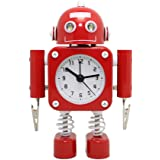 """Betus [Non-ticking] Robot Alarm Clock Stainless Metal - Wake-up Clock with Flashing Eye Lights and Hand Clip - 4.3"""" x 6.7"""" x 1.6"""" (Ruby Red)"""