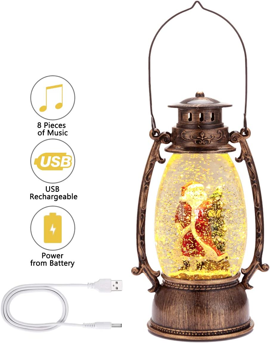 Lighted Snow Globe Lantern - Christmas Santa Claus Lantern, Snow Globe with Swirling Glitter and Battery & USB Powered, Home Decoration Christmas Gift