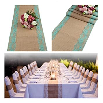 solesu camino de mesa, camino de mesa de encaje tela de yute de arpillera de yute natural rústico boda decoración ...