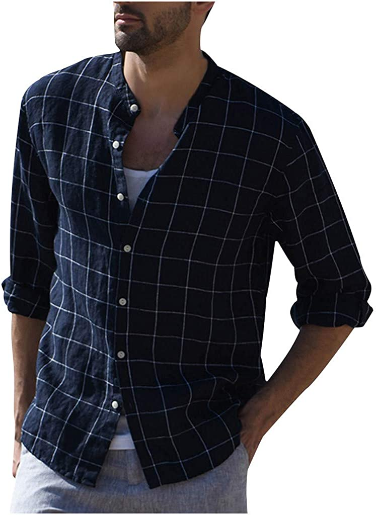 Swyss Mens Linen Plaid Shirts Three Quarter Sleeve Vintage Casual Lightweight Summer Beach Shirts Tops