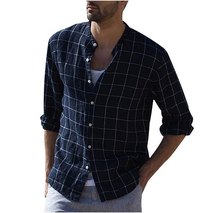 SoonerQuicker Camisa T Shirt tee 2019 Hombres Tres Cuartos Vintage Lino Sólido Manga Corta Camisetas Retro Tops Blusa: Amazon.es: Ropa y accesorios