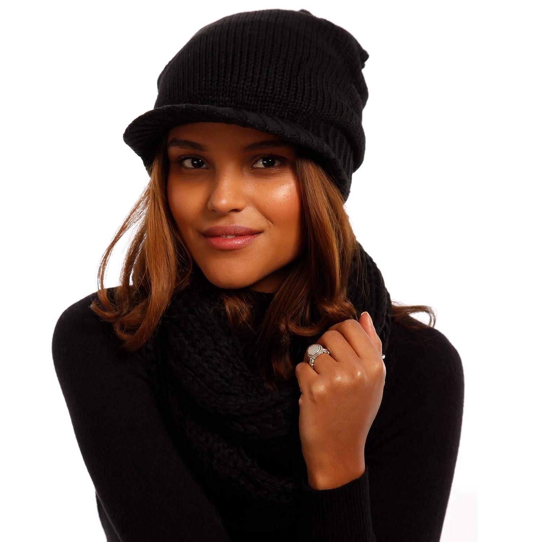 Young-Fashion Damen Strick M/ütze Schirmm/ütze mit Loopschal Beanie Winter Herbst Oversize