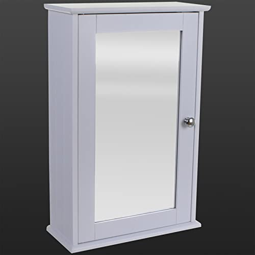 Kitchen Doors Uk Cheap: White Maine Single Mirrored Door Bathroom Cabinet: Amazon