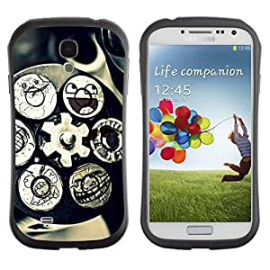 All-Round híbrido de goma duro caso cubierta protectora Accesorio Generación-I BY RAYDREAMMM - Samsung Galaxy S4 I9500 - Technology Mechanism Art Smiley Funny