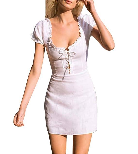 Vestidos Mujer Blancos Vestido Corto Verano Escotado por Detrás Dress Sexy Cintura alta Ajustado Elegante Cóctel
