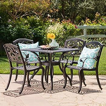 Augusta Patio Furniture ~ 5 Piece Outdoor Cast Aluminum Dining Set (Shiny  Copper)