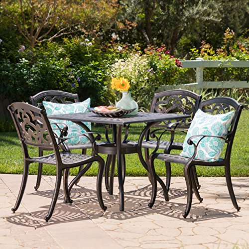 Augusta Seating - Augusta | 5 Piece Outdoor Cast Aluminum Dining Set | Perfect for Patio | in Shiny Copper