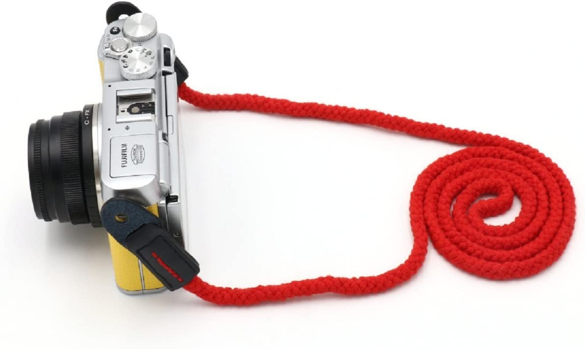 red Long rope woven shoulder strap real leather Cotton for for all camera Classic Style