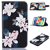 3d jelly cases for galaxy s5 - Galaxy S5 Case, Firefish Kickstand Flip Folio Synthetic Leather Wallet [Shock Absorption] [Scratch Proof] Magnetic Closure Case for Samsung Galaxy S5 -Flower-A