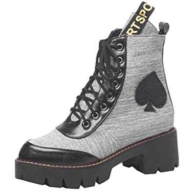 8c3ab9e6db43e7 YE Damen Plateau Ankle Boots Blockabsatz Schnürsenkel Stiefeletten Punk  Stiefel Einfach Winter Trend Schuhe(Grau