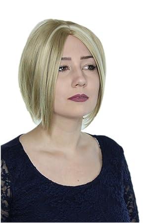 Prettyland Bob Kurz Haar Natürlich Matte Perücke Mittelscheitel Damen Frisuren Hell Blond C433