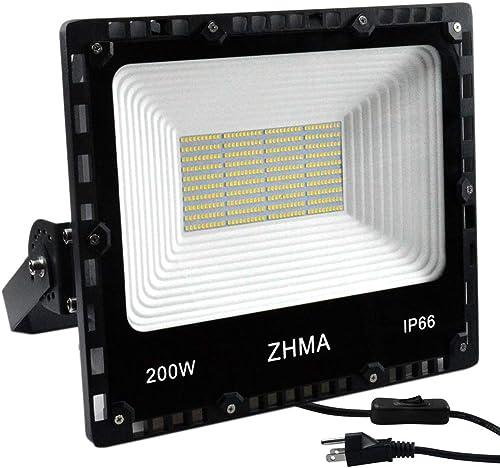 ZHMA 200W LED Flood Light Outdoor, 20000lm Super Bright Work Lights, IP66 Waterproof Security Light with Plug Switch, 6500K White Spotlight for Garden, Yard, Garage, Basketball Court Lighting