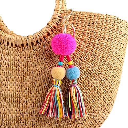 QTMY Big Pom Pom Beaded Tassel Boho Long Bag Pendant Charm Keyring Keychain for Women Purse Handbag Decor (2)