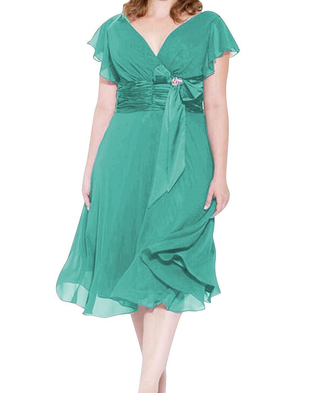 Dressyu Plus Size Short Bridesmaid Dresses V-Neck Chiffon A Line Womens Prom Gown